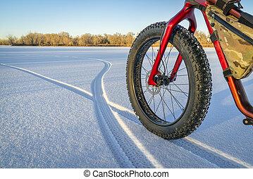 fat bike on a frozen lake