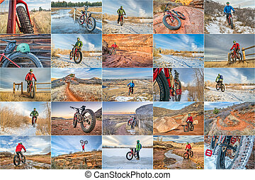 fat bike riding in northern Colorado - a collage of 25...