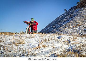 fat bike riding in winter Colorado landscape