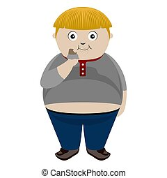 Fat boy eating a chocolate bar