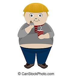 Fat boy eating a chocolate bar with a soda
