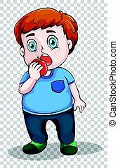 Fat boy eating apple