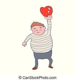 fat boy holding a heart.