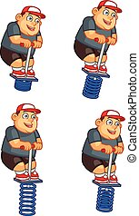 Fat Boy Jumping Pogo Sprite - Set of Vector Illustration of...
