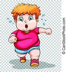 Fat boy running on transparent background