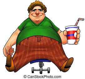 fat boy - blond big fat boy sitting in a small chair with...