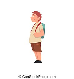 Fat Boy with Backpack, Side View, Cute Overweight Child...
