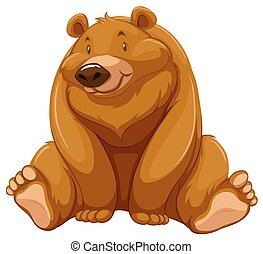 Fat brown bear - One fat brown bear on a white background