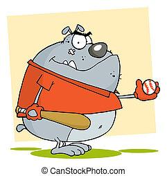 Fat Bulldog Playing Baseball