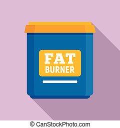Fat burner icon, flat style - Fat burner icon. Flat...