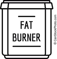 Fat burner icon, outline style - Fat burner icon. Outline...
