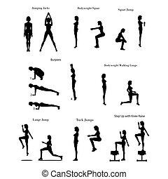 Fat burning workout exercises on the white background....