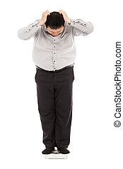 fat business man too unbelievable his weight to hold head