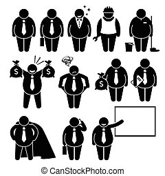 A set of human pictogram representing a fat businessman in various jobs, attire, and poses.