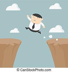 Fat businessman jumping over gap