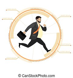 Businessman running in a circle, infographic template