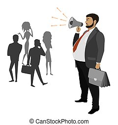 Fat Businessman with a megaphone and silhouettes of women and man
