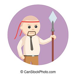 fat businessman with spear in circle background