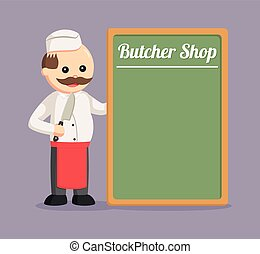 fat butcher man with butcher shop board