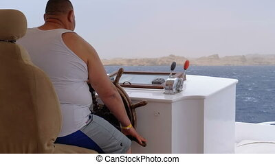 Fat Captain Controls the Tourist Yacht in Sea Storm....