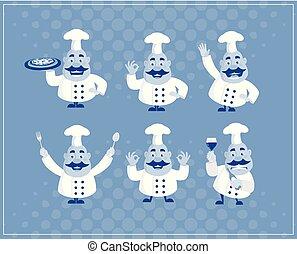 Fat Cartoon Chef blue Flat Vector Illustration Design