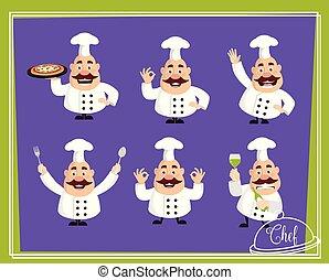 Fat Cartoon Chef Flat Vector Illustration Design