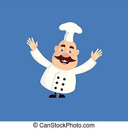 Fat Cartoon Chef happy Flat Vector Illustration Design