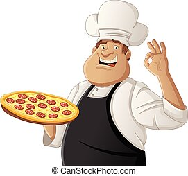 Fat cartoon chef