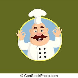 Fat Cartoon Chef mascot Flat Vector Illustration Design