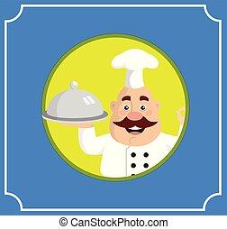 Fat Cartoon Chef with hot food Flat Vector Illustration Design