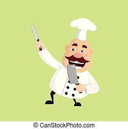 Fat Cartoon Chef with knife Flat Vector Illustration Design
