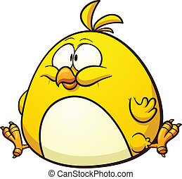 Fat cartoon chicken. Vector clip art illustration with...