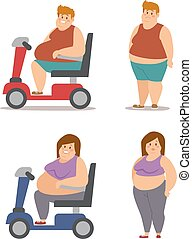 Fat cartoon people different stages vector illustration - ...