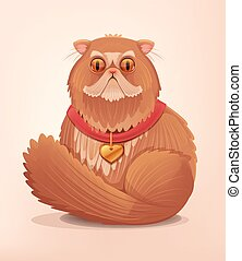 Fat cat character with flat snout. Vector flat cartoon illustration