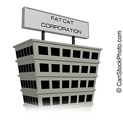 Fat Cat Corporation - Illustration of a building with a sign...