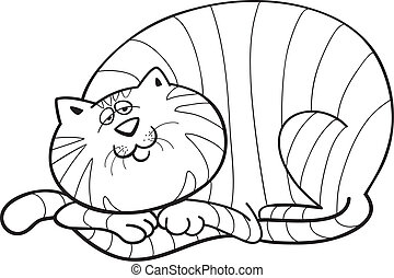 Fat cat for coloring book - illustration of happy fat cat...