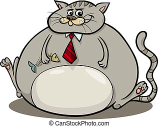 fat cat saying cartoon illustration - Cartoon Humor Concept...