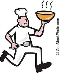 Fat Chef Cook Holding Bowl Cartoon