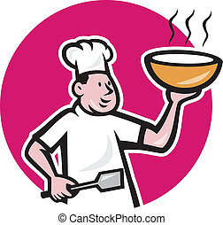 Fat Chef Cook Holding Bowl Oval Cartoon - Illustration of a...