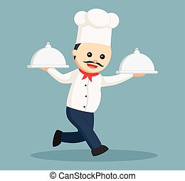fat chef running and holding two platter