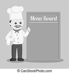 Fat chef with big menu board