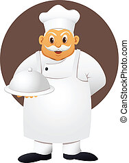 fat chef with food