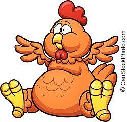 Fat chicken - Fat cartoon chicken. Vector clip art ...