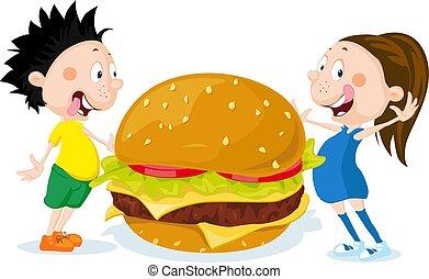 Fat children with hamburger cartoon flat design vector illustration