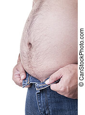 fat - Chubby man trying to wear pants