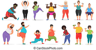 Fat cute people doing fitness exercise training. Man and woman gym workout vector illustration.