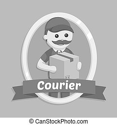 Fat delivery man in courier emblem