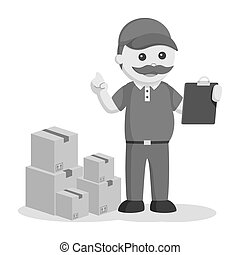 Fat delivery man with clipboard and stack of boxes