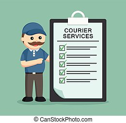 fat delivery man with courier services clipboard