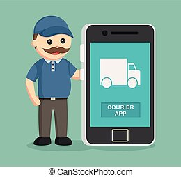 fat delivery man with smartphone